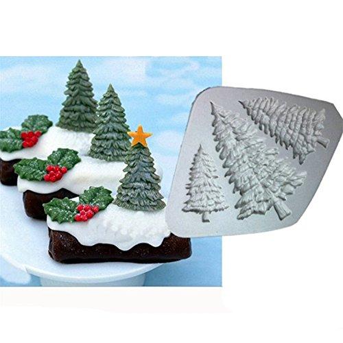 Gluckliy 3D DIY Weihnachtsbaum Silikon Form zum Backen Zucker Schokolade Fondant Kuchen Cupcake Decor Backform