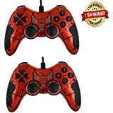 Cable World Dual Vibration USB Wired Controller With LED Indicators For PC Laptop (Red) - Pack Of 2