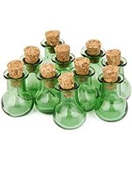 Botellas De Corcho 10 Frascos De Vidrio De Base Plana Frasco Que Desea Botellas Colgantes De Bricolaje Verdes