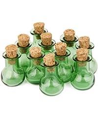 Botellas De Corcho 10 Frascos De Vidrio De Base Plana Frasco Que Desea Botellas Colgantes De