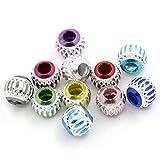 100pcs rond en aluminium mixte Perles Charms Bijoux Apprêt 9mm - 3