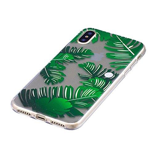 Coque en Silicone pour iPhone X, Herzzer Clair TPU Arrière Case Doux Gel Ultra Slim Flexible Etui Housse Cactus Vert Motif Rubber Skin Bonne Qualité Housse de Protection pour Apple iPhone X Feuilles de Banane