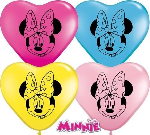 Minnie Mouse Vorderseite Verschiedene Qualatex 15.2cm Herzförmig Latex Ballon x 10 (Versorgt Luftballons)