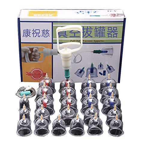 24 Juego de Tazas para Ventosas - Terapia China Biomagnética con Ventosas con Manija de Bombeo y Tubo de Extensión - Masajeador de Cara y Cuerpo al Vacío para Uso en el Hogar para Adultos
