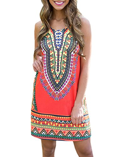 Ninimour Classique Robe Imprimé Aztèque Femme sans Manches Casual Dress Rouge