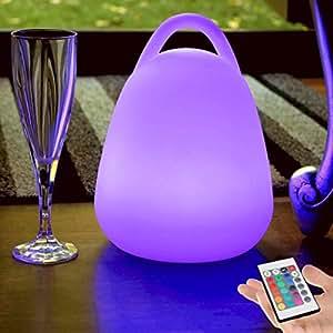 pk green lampe nomade led rechargeable t l commande 23cm lampe table multicolore lanterne. Black Bedroom Furniture Sets. Home Design Ideas