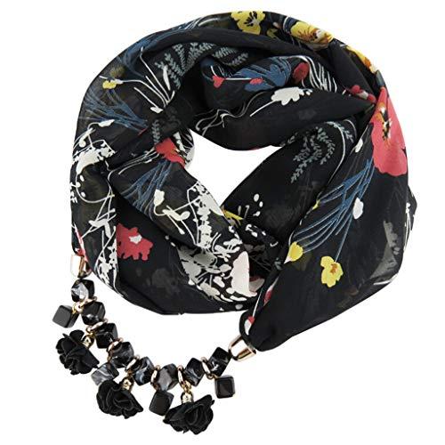 VEMOW Heißer Verkauf Neue Mode Frauen Anhänger Schal Mit Chiffon Strass Schmuck Schals Schrittweise farbige Schals (D, 60cm-80cm)