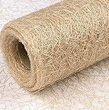 3 x Textilfaser Dekostoff • 37 cm x 5 m • Tischläufer • Tischband • Tischdecke • Netzgewebe • Textilgewebe • hochwertig + dekorativ • 100 % Polyester • 30° waschbar • bügelbar • Festschmuck (Creme)