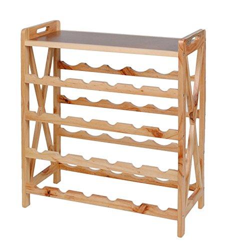 ts-ideen Massivholz Weinregal für 24 Flaschen Flaschenregal Weinboard Getränkeregal Flaschenhalter Walnuss Holz