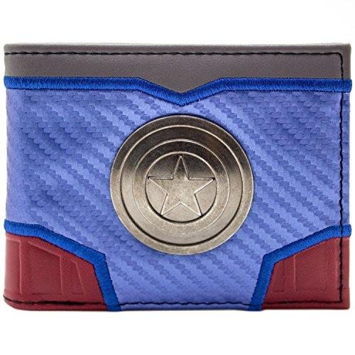 Captain America Schick Machen Silbernes Schild Blau Portemonnaie Geldbörse
