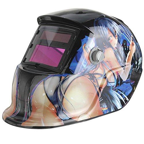 AUDEW Automatik Schweißmaske Solar Schweißhelm Automatisch Schweißschild MIG TIG ARC Schweißschirm (Schönes Mädchen)