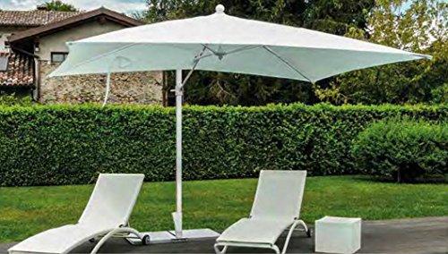 PEGANE Parasol rectangulaire deporté en Aluminium et Polyester Coloris Blanc - Dim : H 250 x D 300 X 200/4 Baleines