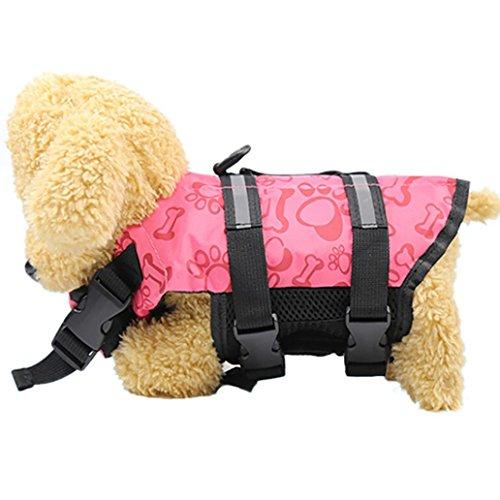 Zolimx Chaleco Salvavidas Para Mascotas, Productos Para Mascotas Chaqueta de Vida de Perrito Ajustable Hacia Fuera Con Mango de Rescate (XS, Rosa)