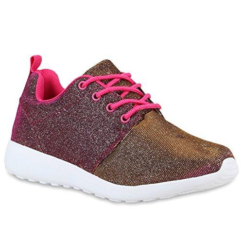 stiefelparadies Damen Lauf Modische Sportchuhe Sneaker Glitzer Pailletten Sneakers Runners Snake Blumen Schuhe 110937 Pink Glitzer 38 Flandell