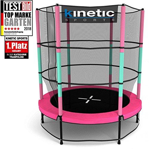 Kinetic Sports Trampoline Enfant Indoor Intérieur Jumper 140 cm Protection de Bord, Pôles rembourrés, Système de Ressorts...