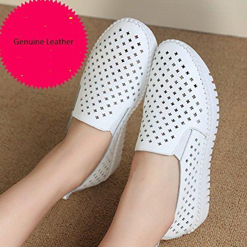 Confortable Chaussons demi-chaussettes Baotou Été féminin étalage de pantoufles à pédales Chaussures blanches respirantes Chaussures plates en cuir (2 couleurs en option) (taille facultative) Augmenté A