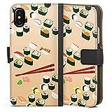 DeinDesign Apple iPhone XS Tasche Leder Flip Case Hülle Sushi Food Essen