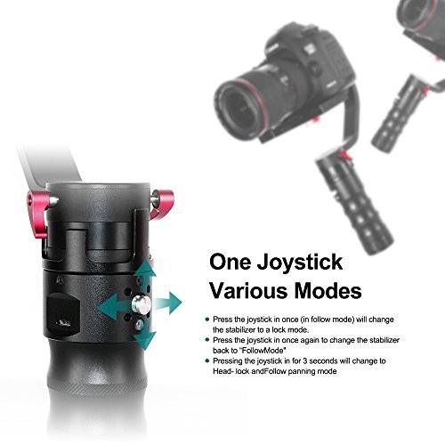 Beholder DS1 3 Axis Brushless Handheld Gimbal Stabilizer 32-bit Controller with Dual IMU Sensors for DSLRs Max.Weight 3.7lbs Canon 6d 5d 7d Nikon D810 D800 Sony A7 Series Panasonic GH4 GH7 Series