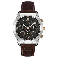 Idea Regalo - Bulova 98A142 - Orologio al quarzo da uomo, con quadrante analogico nero e cinturino in pelle marrone