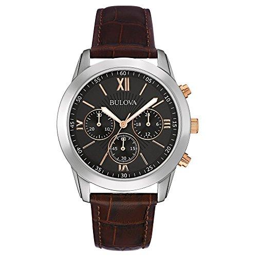 Bulova 98A142 - Orologio al quarzo da uomo, con quadrante analogico nero e cinturino in pelle marrone