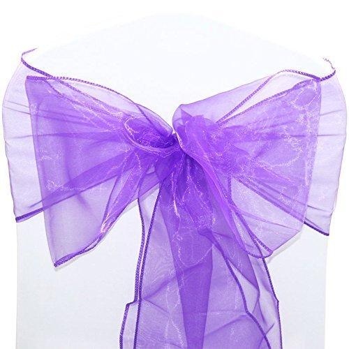 1, 50, 100, 120und 150x 17cm breit 280cm lang–Organza Schärpen Stuhlhusse Bögen Volleres für Hochzeit Geburtstag Party Events 34Farben von Hochzeit Decor, Textil, violett, 100 Stück (Satin-spandex-krawatte)