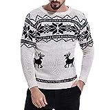 Xmiral Strickpullover Herren Weihnachten Streifen Rundhals Pullover Grobstrick Top (M,Grau)