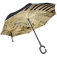 mydaily doble capa paraguas invertido coches Reverse paraguas Piano Key Nota Musical Vintage resistente al viento