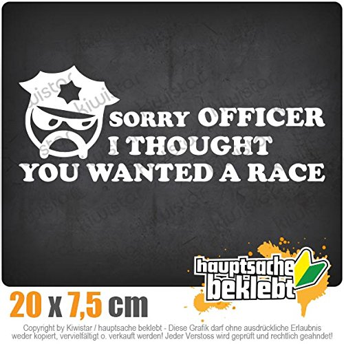 sorry-officer-want-a-race-20-x-8-cm-in-15-farben-neon-chrom-sticker-aufkleber