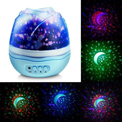 Mehrfarb Projektor Nachtlicht, Drehende Sternenlose LED Projektion, Mond-Stern-Lampe, Sternlampe Kinderzimmer Upxiang Cosmos Nachttischlampe, Rose Form Projektor Sternenhimmel Schlafzimmer Romantische Dekorative (Weiß)