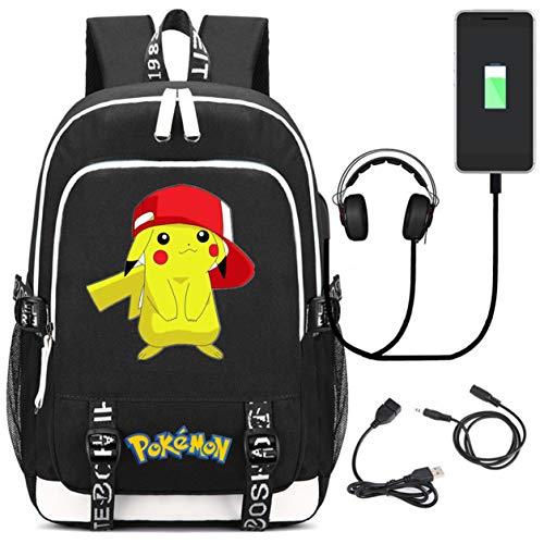 AUGYUESS Augyue Cartoon Anime Schulranzen Daypack Book Bag Laptop Tasche Rucksack für Kinder mit USB-Ladeanschluss schwarz 2 L