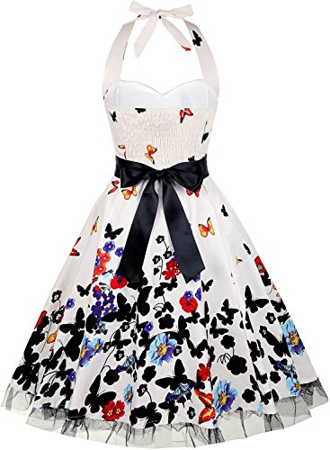 Damen Kleid OTEN 1950er Neckholder Vintage Retro Partykleider Festliche Rockabilly Kleid Cocktailkleid Schmetterling 1