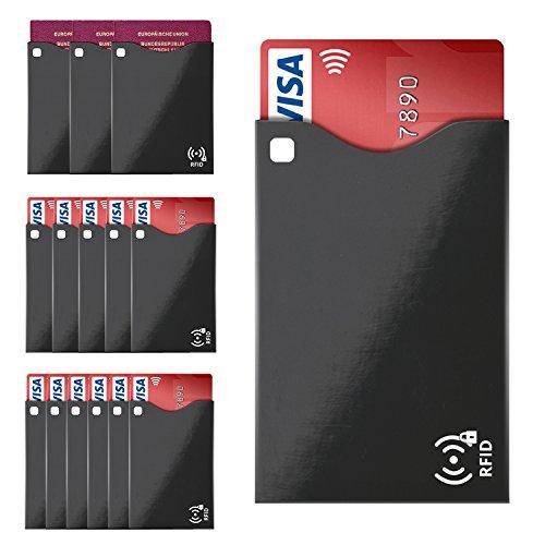 SILEO® RFID Schutzhülle Blocker (14 Stück) - Blocking Schutz für Kreditkarten (11 Hüllen) und Reisepass (3 Hülle) mit RFID & NFC Funk-Chips (Kartenhülle passt in Geldbörse, Portemonnaie, etc.) (Blockiert Wellen)