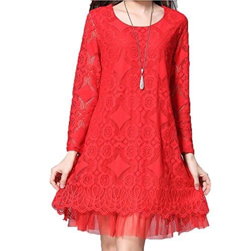 YUYU Vestito di pizzo donne Spring Big formato Il colore