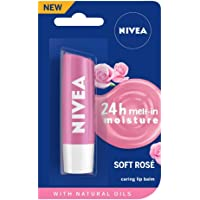 NIVEA Lip Balm, Soft Rose, 4.8g