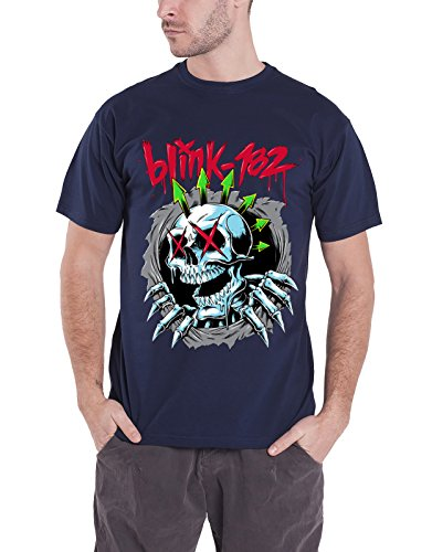 Blink-182 Hoodie (Blink 182 T Shirt Ripper Chrome Skeleton Face Band Logo offiziell Herren Nue)