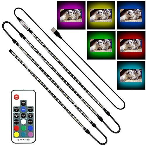 SRUIK LED TV Hintergrundbeleuchtung, Bias Beleuchtung 4*50CM mit Fernbedienung, TV Beleuchtung USB für 40-60 Zoll TV, Fernseher, PC-Monitor, Desktop, Tische