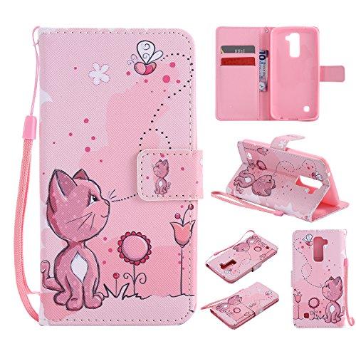 NEXCURIO LG K10 (2016) Hülle Leder, Handyhülle Tasche Leder Flip Case Brieftasche Etui mit Kartenfach Stoßfest Kratzfest Schutzhülle für LG K10 (K420N) - NEKTU10476#6 - Frauen Kreditkarte Brieftaschen