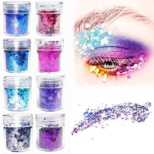 LEBENSWERT Chunky Glitter DIY Make-Up Glitzer Gesicht Glitzer Sequin für Nägel Augen Lippen Haare Körper Kosmetik Paillette für Musik Festival Masquerade Halloween Weihnachten Party 8 Farben