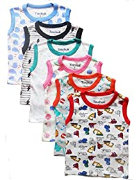 Tinchuk Sleeveless T-Shirt Hero Print Pack of 6 for Little Rockstar Multi-Color Assorted