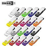 USB Stick 20 Pack USB-Stick Stück Speicherstick 2.0 Memory Sticks 10 Farbe