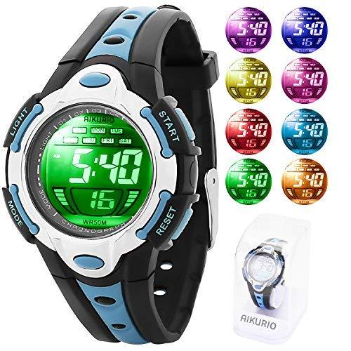 AIKURIO Kinder Digital Uhr 50M Wasserdicht mit 8 LED-Leuchten und Silikon Armband AKR006 (Armband Led Uhr)