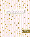 Weekly Planner: 2018 Weekly Planner & Organizer: Portable Format: Pretty Pink Stripes & Gold Flecks (Calendars, Planners & Personal Organizers)