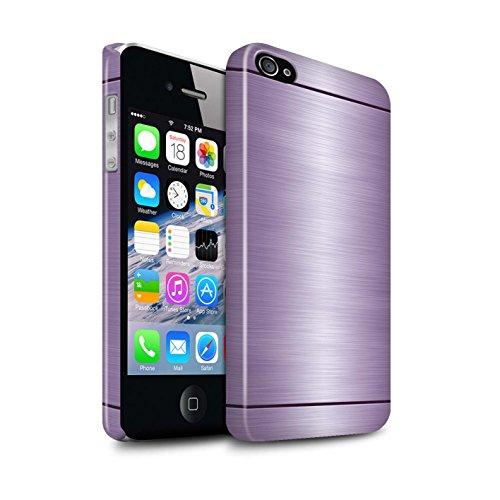 Stuff4® Glanz Snap-On Hülle/Case für Apple iPhone 4/4S / Lila Muster/Gebürstetem Metall Mutser Kollektion (4s Case Metall Gebürstetem Iphone)