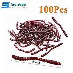 Idea Regalo - Senven artificiale earthworm, Biomimetic Morbido Silicone Earthworm Esche Worm Esche da Pesca Simulazione Red Worms plastica Verde Ambiente Strong Tentazione Esca Finta Red Worm - L tipo-100Pcs