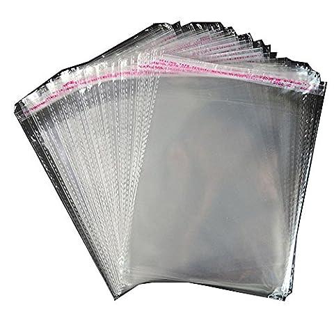 Paquet de 100 sacs en autocollant en cellophane transparent. Forte de 7 fils. Différentes tailles. (150mm x