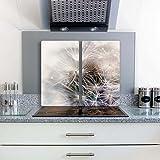 FTB Gsmarkt Herdabdeckplatten Schneidebrett Set 2x30x52 Glasbild Pusteblume
