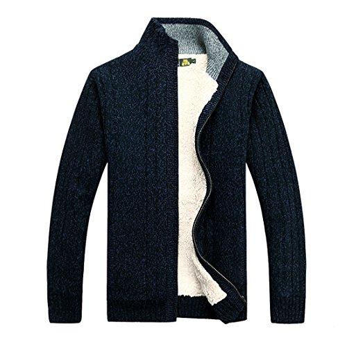 GWELL Herren Strickjacke mit Fleece Einfarbig Verdickte Sweater Cardigan  Strickpullover mit Reißverschluss Stehkragen Blau
