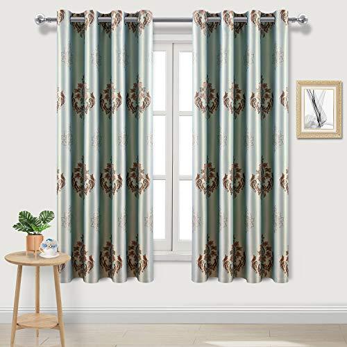 DWCN Ösenvorhang, für Schlafzimmer, Wohnzimmer, Polyester-Mischgewebe, Damask|Aqua Blue, 52 x 63 | 2P -