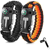 HONYAO Paracord Bracelets, Set of 2 Outdoor Camping Hiking Emergency Gear Rescue Rope, Compass, Whistle, Flint Fire Starter, Ideal Wilderness Mini Survival Kit
