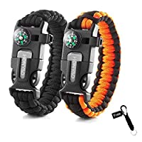 HONYAO Paracord Bracelets, Set of 2 Outdoor Camping Hiking Emergency Gear Rescue Rope, Compass, Whistle, Flint Fire Starter, Ideal Wilderness Mini Survival Kit 22